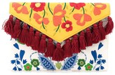 Carolina Herrera floral-embroidered tassel clutch