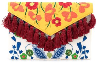 Carolina Herrera Floral-Embroidered Tassel Clutch