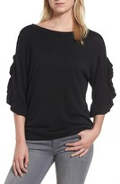 Halogen Petite Women's Ruffle Sleeve V-Back Sweater