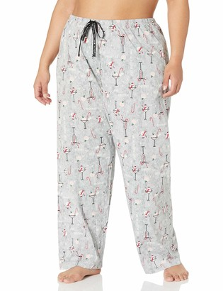 Hue Women's Plus Printed Knit Long Pajama Sleep Pant