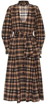 Ganni Check cotton-blend midi dress
