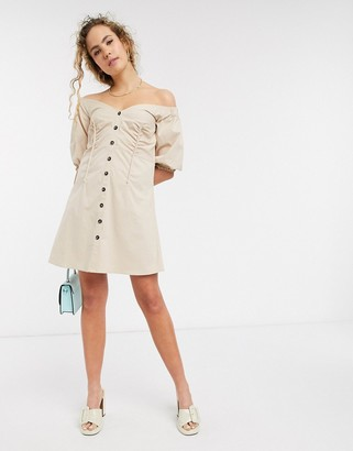 Lost Ink bardot button front mini dress