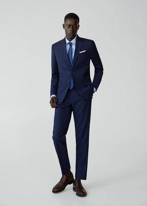 MANGO MAN - Regular fit microstructured suit pants prussian blue - 28 - Men