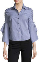 Jonathan Simkhai Button-Front Gingham Poplin Shirt w/ Lace-Up Trim