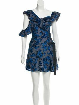 Self-Portrait Floral Print Knee-Length Dress w/ Tags Black