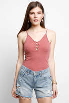 Anama Lace Up Slub Knit Tank Top