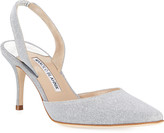 Manolo Blahnik Carolyne Tweed Mid-Heel Halter Pumps