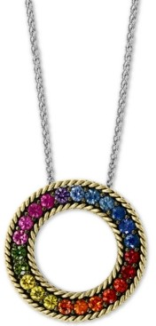 "Effy Multi-Sapphire Circle 18"" Pendant Necklace (2-1/6 ct. t.w.) in Sterling Silver & 18k Gold"