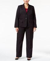 Le Suit Plus Size Three-Piece Pinstripe Pantsuit