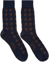 Alexander McQueen Navy & Brown Skulls Socks