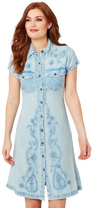 Joe Browns Button Through Embroidered Dress - Blue