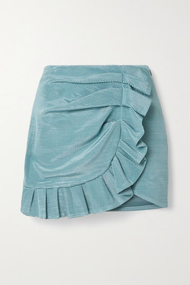 Jonathan Simkhai Azalea Ruffled Metallic Plisse-satin Mini Skirt - Light blue