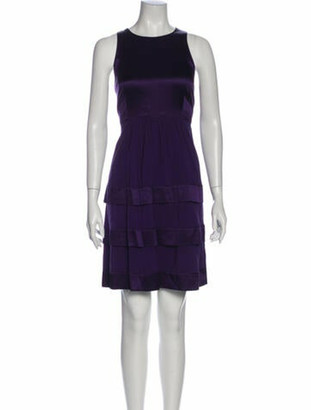 Burberry Silk Knee-Length Dress Purple