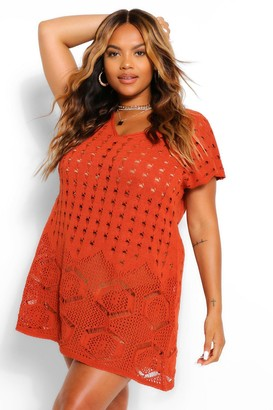 boohoo Plus Sleeveless Crochet Beach Dress