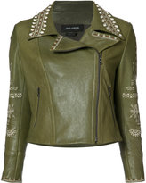 Yigal Azrouel embroidered biker jacket - women - Lamb Skin - 0