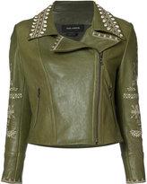 Yigal Azrouel embroidered biker jacket - women - Lamb Skin - 0