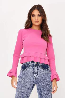 I SAW IT FIRST Hot Pink Scuba Crepe Double Frill Long Sleeve Top