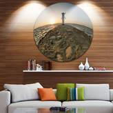 DESIGNART Design Art Lighthouse Windmill Stawa Mlyny Ultra Vibrant Seascape Metal Circle Wall Art
