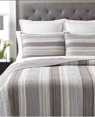 Martha Stewart Collection 100% Cotton Garrison Stripe Neutral King Quilt