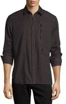 G Star G-Star Powel Zip-Pocket Long-Sleeve Shirt, Black
