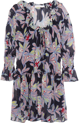 See by Chloe Ruffled Floral-print Silk-crepe Dress