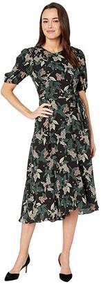Donna Morgan Floral Printed Elbow Sleeve High-Low Georgette Dress
