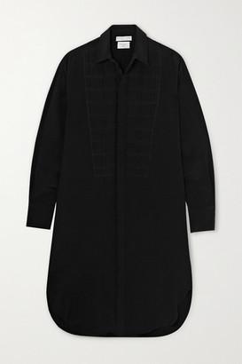 Bottega Veneta Quilted Silk Crepe De Chine Shirt Dress - Black