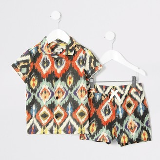 River Island Mini boys Brown aztec print shirt outfit