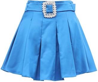Giuseppe di Morabito Pleated Wool Blend Satin Mini Skirt