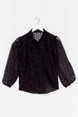 Nasty Gal Dot Something for You Organza Puff Sleeve Blouse - Black - S