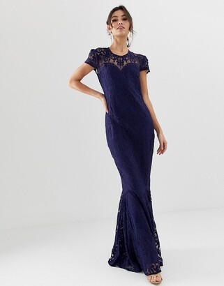 City Goddess all over lace fishtail capped sleeve maxi dress