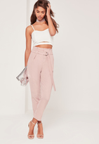Missguided Paperbag Waist Cigarette Trousers Pink
