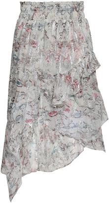 IRO Asymmetric Tiered Fil Coupe Silk-blend Skirt