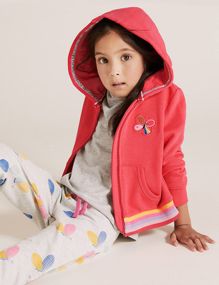 Marks and Spencer Cotton Rich Butterfly Embroidered Hoodie (2-7 Yrs)