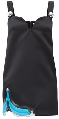 Christopher Kane Gel-panel Satin Mini Dress - Black
