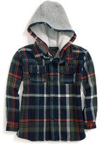 Tommy Hilfiger Jersey-Lined Hooded Plaid Shirt