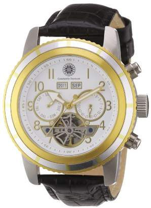 Constantin Durmont Men's Automatic Watch CD-PUEB-at-LT-STGDST-WH with Leather Strap
