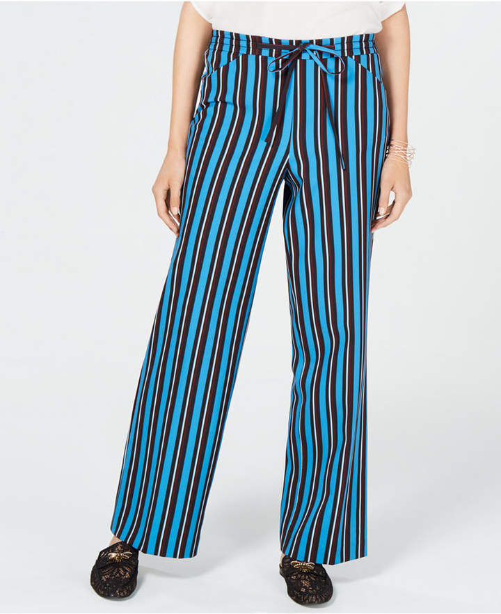 I.n.c. Petite Striped Drawstring Pant