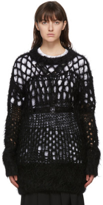 Junya Watanabe Black Wool Open Knit Sweater
