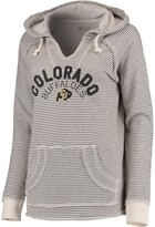 Unbranded Women's Blue 84 Cream Colorado Buffaloes Striped French Terry V-Neck Hoodie