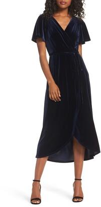 Chelsea28 Velvet Faux Wrap Midi Dress
