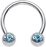 Body Candy Stainless Steel Brilliant Accent Horseshoe Circular Barbell 16 Gauge 3/8""