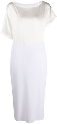 Malo Asymmetric Sleeves Panelled Dress