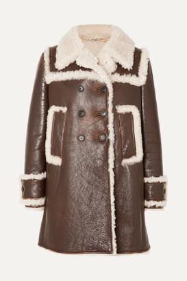 Miu Miu Shearling-trimmed Textured-leather Coat - Brown