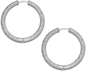 Carolina Bucci Small Florentine Finish Thick Round Hoop Earrings - White Gold