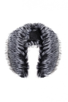 Quiz Black And Grey Faux Fur Scarf