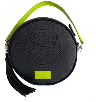 Kartu Studio Natural Leather Cross Body Bag Clutch Muscat - Black Snake Print/Green Neon Detail