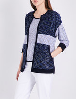 St. John Chambray contrast-panel knitted cardigan
