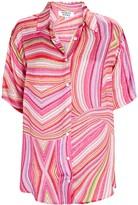 Thumbnail for your product : Frankie's Bikinis Moonchild Striped Satin Button-Down Shirt