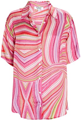 Frankie's Bikinis Moonchild Striped Satin Button-Down Shirt